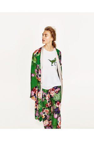 Dames Kimono's - Zara LANGE KIMONO MET BLOEMENPRINT