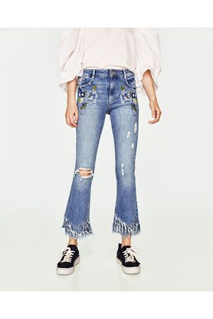 Dames Bootcut - Zara MINI FLARE JEANS MET HALFHOGE TAILLE