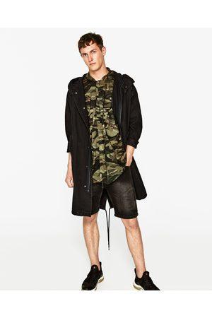 Heren Overhemden - Zara OVERHEMD MET CAMOUFLAGEPRINT EN CAPUCHON
