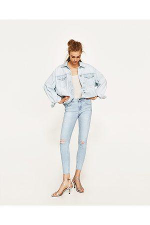 Dames Jeans - Zara JEANS MET HALFHOGE TAILLE EN SCHEUREN