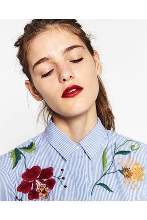 Dames Blouses - Zara POPELINE BLOUSE MET BORDUURSEL