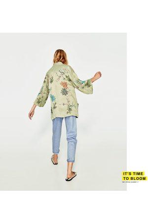 Dames Kimono's - Zara KORTE KIMONO MET BORDUURSEL