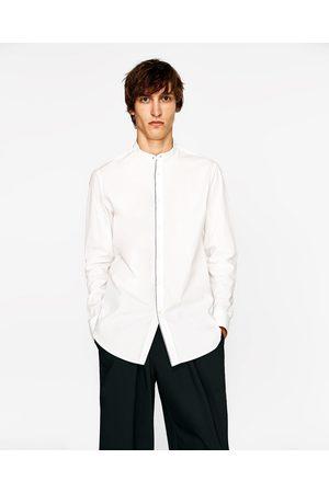 Heren Overhemden - Zara OVERHEMD MET MAOKRAAG EN CONTRASTERENDE STROOK