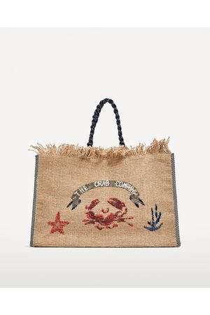 Dames Shoppers - Zara JUTE SHOPPER MET BORDUURSEL