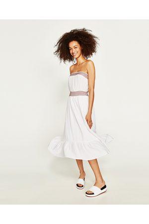 Dames Strapless jurken - Zara STRAPLESS JURK MET CONTRASTEREND BORDUURSEL