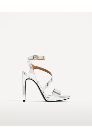 Dames Sandalen - Zara ZILVERKLEURIGE SANDALEN MET HAK - In meer kleuren beschikbaar