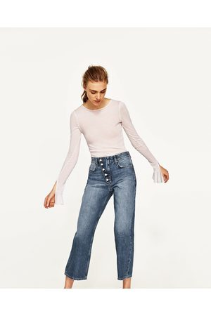 Dames Culottes - Zara CULOTTE-JEANS MET HALFHOGE TAILLE