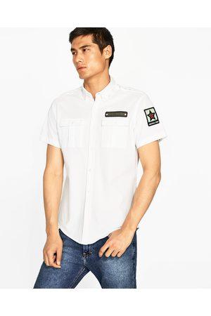 Heren Overhemden - Zara PIQUÉ OVERHEMD MET PATCHES - In meer kleuren beschikbaar