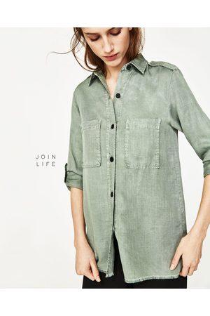 groene denim blouse