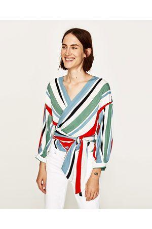Dames Tops & Shirts - Zara GESTREEPTE OVERSLAGTOP