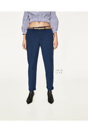 Dames Chino's - Zara CHINOBROEK MET CEINTUUR - In meer kleuren beschikbaar