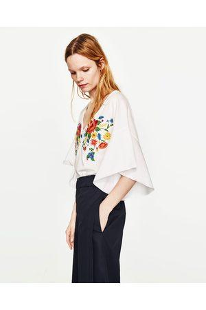 Dames Zara Shirt Shirts Geborduurde T Met Bloemen waxBqwr5