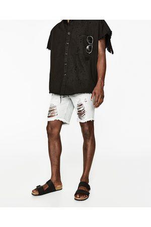 Heren Bermuda's - Zara DENIM BERMUDA IN VERSLETEN LOOK - In meer kleuren beschikbaar