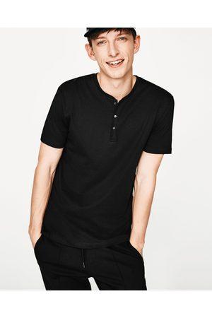 Heren Shirts - Zara T-SHIRT MET POLOSLUITING - In meer kleuren beschikbaar