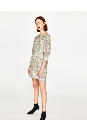Dames Geprinte jurken - Zara GESTREEPTE JURK MET BLOEMENPRINT