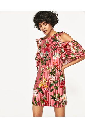 Dames Geprinte jurken - Zara GESTREEPTE JURK MET BLOEMEN