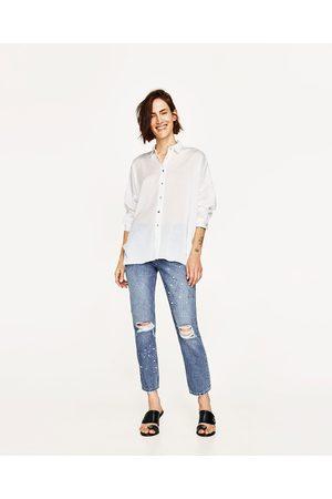 zara blouse blauw