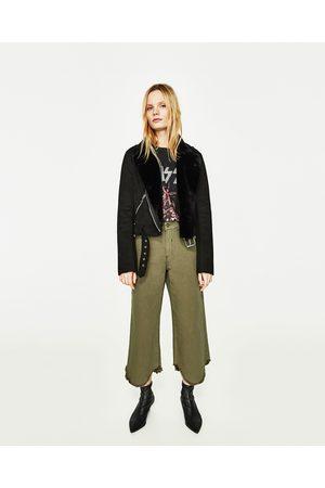 Dames Culottes - Zara CROPPED CULOTTE-JEANS MET HALFHOGE TAILLE - In meer kleuren beschikbaar