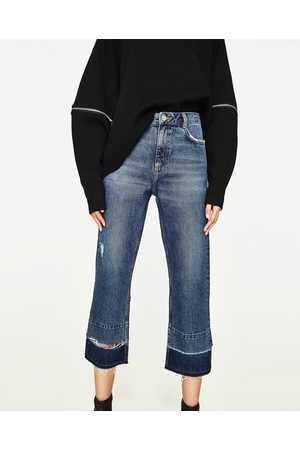 Straight - Zara CROPPED JEANS IN STRAIGHT FIT MET HALFHOGE TAILLE