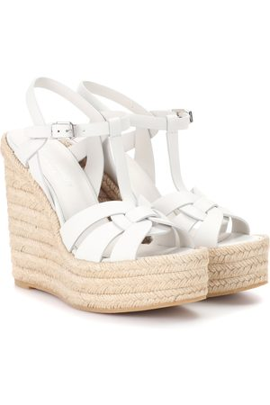 Saint Laurent Tribute leather wedge espadrille sandals