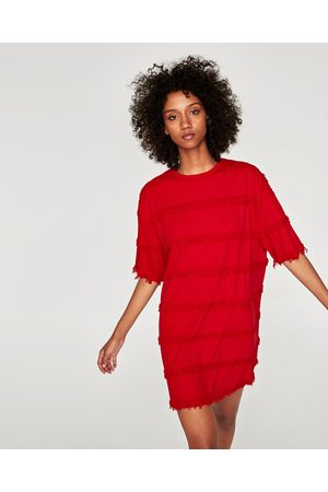 Zara OVERSIZED JURK MET FRANJES - In meer kleuren beschikbaar