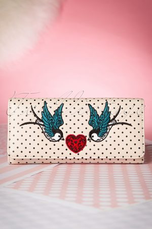 Banned Retro Dames Portemonnees - 50s Now or Never Polka Purse in Cream