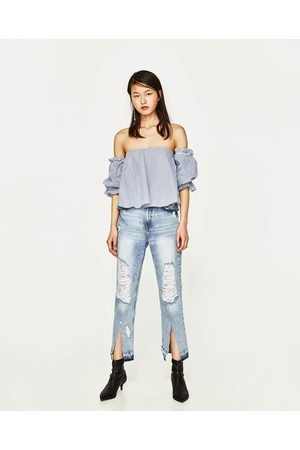 Dames Jeans - Zara CROPPED JEANS IN STRAIGHT FIT MET HALFHOGE TAILLE