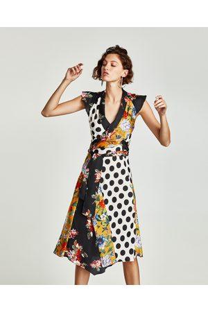 Zara Dames Geprinte jurken - JURK MET BLOEMEN- EN STIPPENPRINT IN PATCHWORK