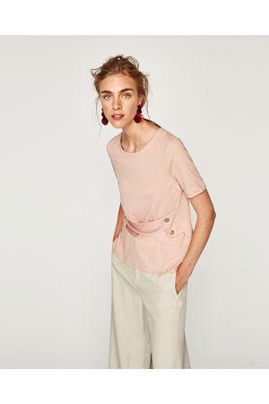 Zara T-SHIRT MET DRUKKNOOPJES OP KORSET - In meer kleuren beschikbaar
