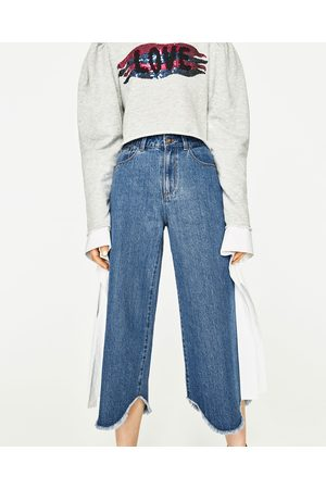 Dames Culottes - Zara CROPPED CULOTTE-JEANS MET HALFHOGE TAILLE