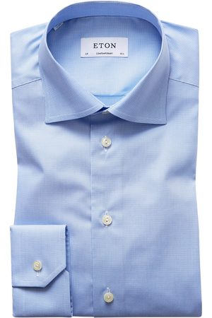 Heren zakelijke overhemden - Eton Dress shirt blue pied de poule Contemporary