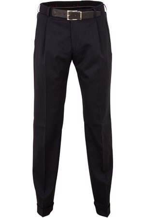 Pantalon Paris-U wol navy bandplooi stretch