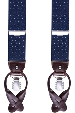 Heren Bretels - Profuomo Bretels marineblauw dot 36 MM