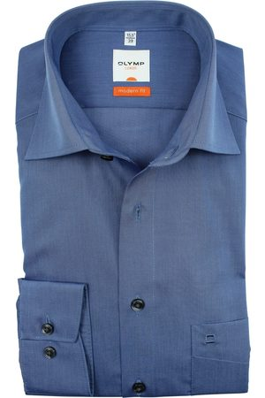 Olymp Luxor modern fit overhemd chambray staalblauw