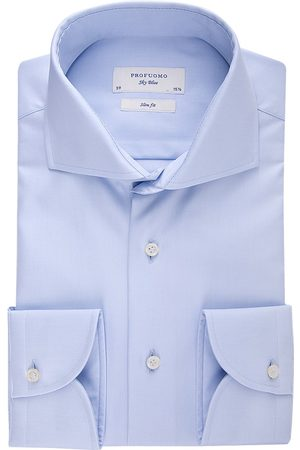 Heren zakelijke overhemden - Profuomo Overhemd slim fit sky blue two ply