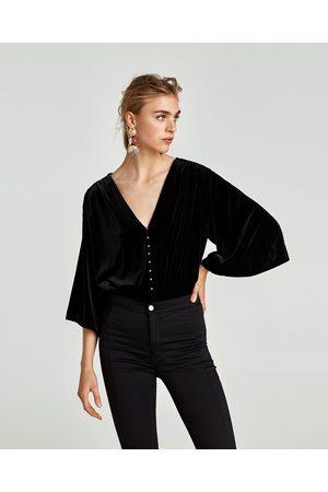 Zara FLUWELEN BODY MET PARELS - In meer kleuren beschikbaar