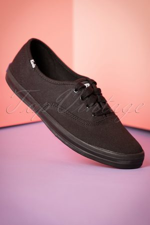 Keds 50s Champion Core Text Sneakers in All Black