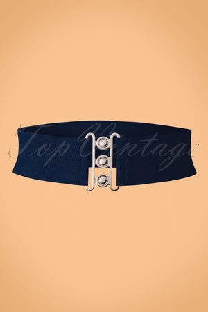 Dancing Days by Banned 50s Lauren Retro Stretch Belt in Navy