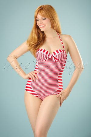 Bellissima 50s Nancy Stripes Halter Swimsuit in Red and White