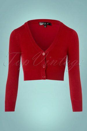 Mak Sweater 50s Shela Cropped Cardigan in Lipstick Red