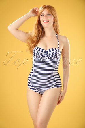 Bellissima 50s Nancy Stripes Halter Swimsuit in Navy and White