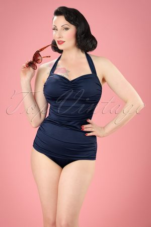 Esther Williams Classic Fifties One Piece Swimsuit Navy