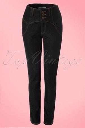 Collectif 50s Rebel Kate High Waist Denim Pants in Black