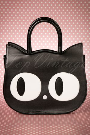 Banned Alternative Dames Handtassen - 60s Lizzy The Big Eyed Cat Bag in Black