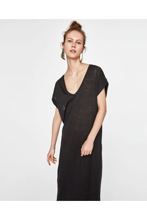 zwarte linnen jurk