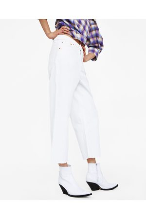 Zara JEANS HIGH WAIST CULOTTE PURE WHITE