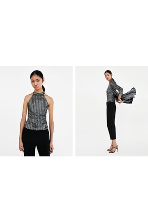 Zara METALLIC HALTERNECK TOP