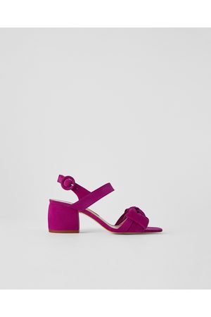 Zara LEREN PUMP MET HAK EN STRIK - In meer kleuren beschikbaar