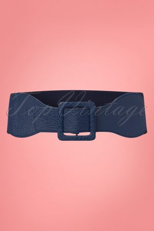 Dancing Days by Banned 50s Square Buckle Belt in Navy