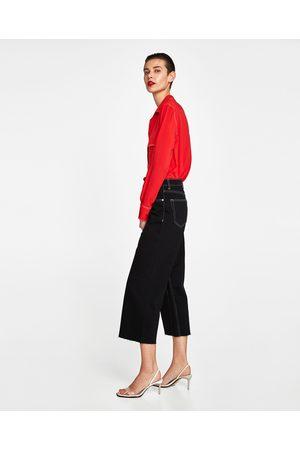 Zara HIGH WAIST CULOTTE-JEANS IN MIDNIGHT BLACK